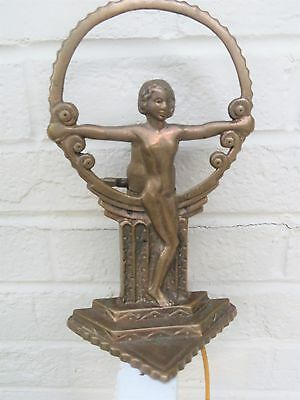 Brass Bronze Antique Vintage ART DECO Figural Nude Woman Silhouette Table Lamp