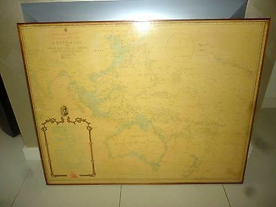 VINTAGE 1970 SCHOOL MAP OF AUSTRALIA With SOUTH EAST ASIA & OCEANIA ON BOARD