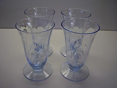 Cambridge Glass Company Caprice Midnight Blue Footed Juice Glasses Set of Four