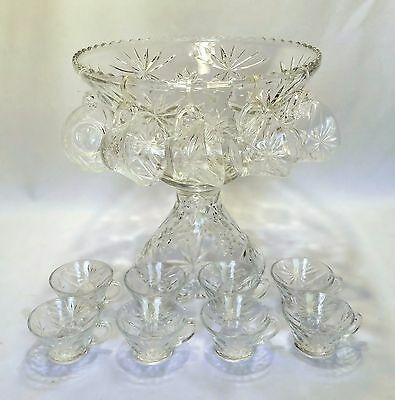 Anchor Hocking Glass American Prescut Clear Crystal 14 pc Punch Bowl Set w Stand