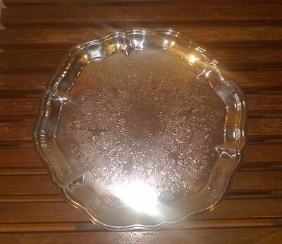 Vintage W & S Blackington Fine Silver Plated Round Serving Tray
