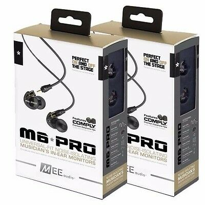 Mee Audio Electronics M6 Pro in-ear Monitor Headphones 2 SETS BLACK FREE SHIP