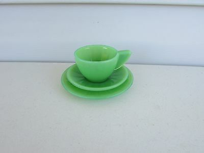 Vintage 1940s Akro Agate Glass Dishes Jadite Green 3 Pc Childs Set