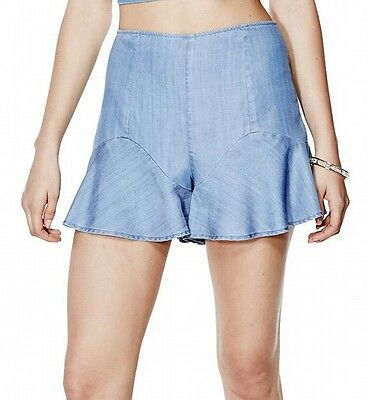 Guess NEW Wash Blue Womens Size 2 High-Rise Chambray Flounce Shorts $69 327