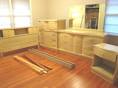 1950s SOLID WOOD blonde VINTAGE MICHELBACH midcentury Furniture BEDROOM SET full