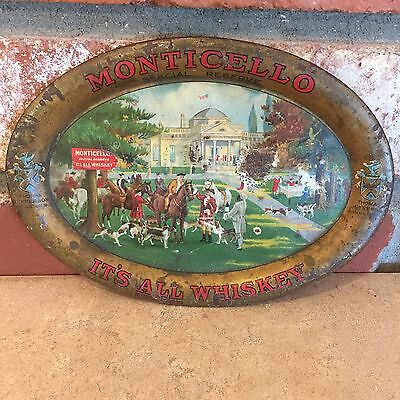 Early 1900's Monticello It's All Whiskey Tip Tray F. O. Black Co. Coshocton, OH