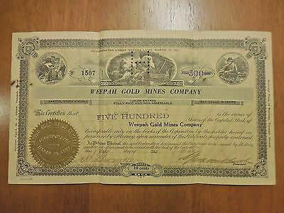 Cancelled Capital Stock #1507 -  Weepah Gold Mines Company (Nevada) 1927