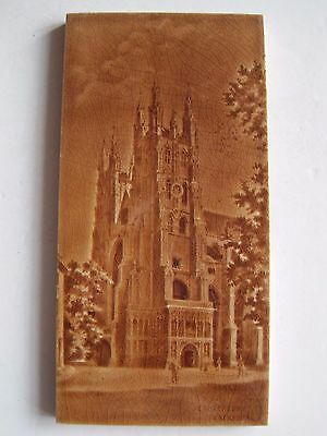 ANTIQUE VICTORIAN MINTONS - MOULDED TILE - CANTERBURY CATHEDRAL  c1896-1900