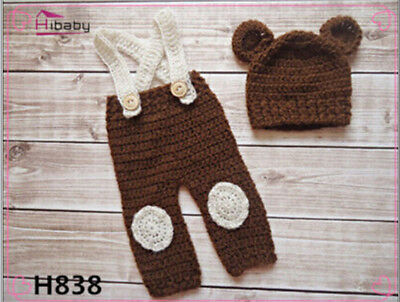 Newborn Baby Girl Crochet Knit Clothes Photo Photography Prop Costume Hat #42