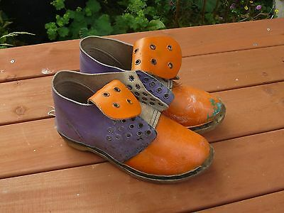 vintage childs/ small womens  leather and wooden shoes clogs for restoration #2