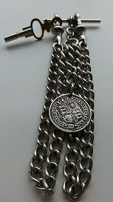 1887 Victoria Sixpence Coin Fob Antique Silver Style Double Pocket Watch Chain