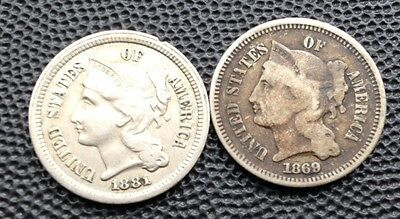 United States 111 Cent Coins 1869-1881