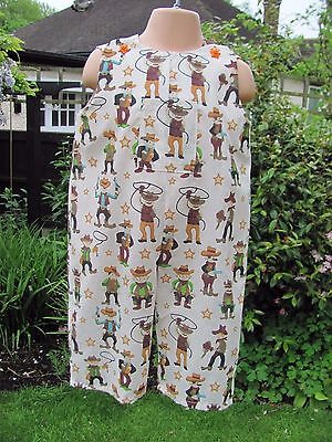 Boys Adjustable Dungarees, Beige, Cowboys, Age 18-24 months, New, Handmade