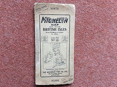 Vintage Michelin Map of the British Isles No. 18 London-Bath