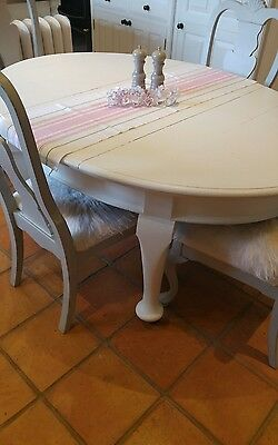 Victorian shabby chic oval oak extending dining kitchen table on casters