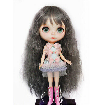 1/6 Cute Long Curly Wavy Hair Full Wig Hairpiece for 12inch Blythe Doll DIY ACCS