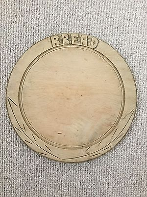 Vintage Circular Wooden Breadboard with Carved Border