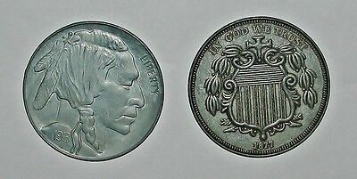"2 Vtg. Oversized 3"" dia. Novelty Coins 1913 Buffalo Nickel & 1877 Shield Nickel"