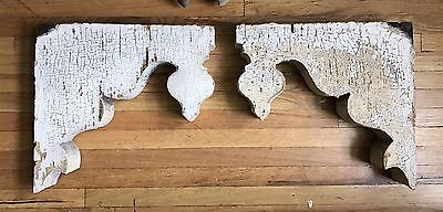 Pair Antique Victorian Corbels Gothic Architectural Fretwork 1880's