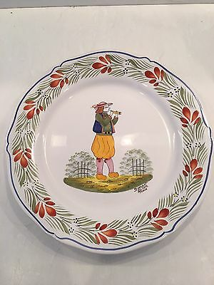 HB Quimper Faience Decorative Wall Plate France Paysan