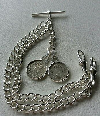 1899 Victorian Threepence Coin Silver Plate Double Pocket Watch Chain