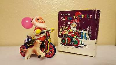 SANTA CLAUS Tricycle WITH DOG ** RARE ** Toy Vintage Tin Litho Wind Up w/ BOX