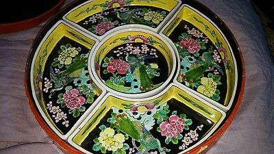 Japanese Antique Famille Rose Medallion Serving Dish Set in Lacquer Box Japan