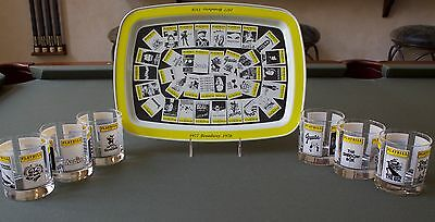 Vintage Playbill Tray and Set of 6 Cocktail Glasses - 1977-1978