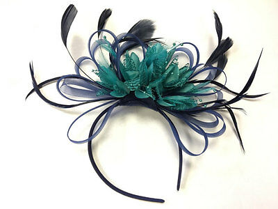 BESPOKE Navy Blue and Turquoise Teal Fascinator Headband UK Wedding Ascot Races