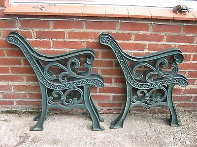 Two Pair Of Heavy Antique Cast Iron Garden Bench Ends