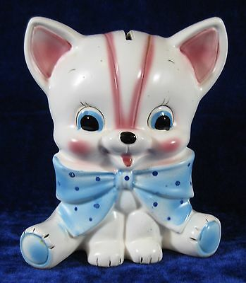 Ceramic Dog Puppy Bank White Pink Blue National Potteries Japan Cork Stopper