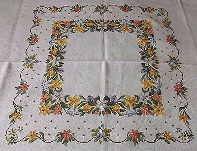 "Superb Vintage Hand Embroidered Table Cloth - 46"" By 44"" - Daffodils & Tulips"