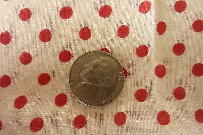 """Antique Early  Yardage 2 Yards 36"""" Wide Red Polka Dot Cotton Linen Fabric"""