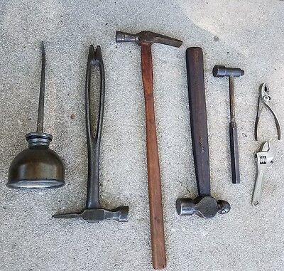 Antique & VINTAGE Miniature Tools Lot (7 Tool) Hammers,oil can, pliers, wrench