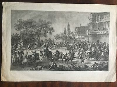 Large18th / 19th Century Engraving of Turkish Ottoman Horse Game
