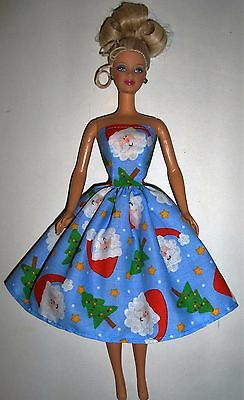 Handmade Barbie Clothes - Blue Santa Party Dress - Made in the USA