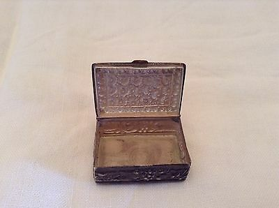 Small vintage ornate silver pill box ~ marked 925