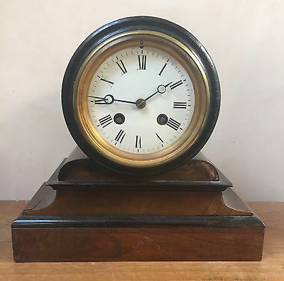 "Japy Freces Mahogany & Ebony Case Striking Mantle Clock GWO 9""H 9""W 3.5""D"