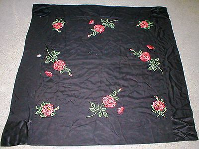 Vintage Chinese Hand Embroidered Roses~SILK TABLE CLOTH~PIANO SHAWL~THROW
