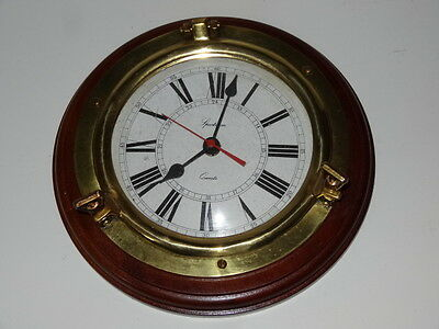 Solid Brass & Wood Ships Porthole Battery Wall Clock Maritime Ship Nautical