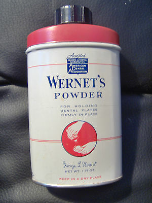 Wernet's Powder Hold Dentures In Place 1.75 oz Vintage Medical Item