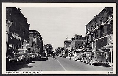 Vintage Lithograph Postcard Main Street, Albany, Indiana Lots of Old Cars