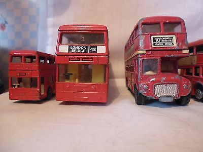 A Job Lot Of 8 London Buses Matchbox Corgi In Used Condition Vintage C Pics