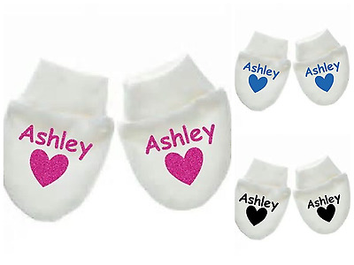 Personalised Baby Scratch Mitts/mittens in a choice of three different text col