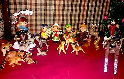 Lot/18 Vtg 1960's Hard Plastic Bambi, Bunny, Children Figurines Hong Kong 2.5""