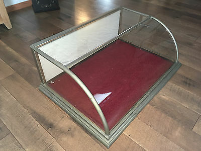 Antique Fx Ganter Wood Glass Nickle Store Display Case With Curved Front Glass