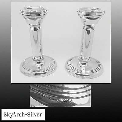 Solid Silver~Candlesticks~PAIR~Hallmarked Chester 1915~270g Gross~