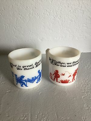 Vintage Prayer Cups Child Antique Milk Glass Mugs Cup Glass Collectible