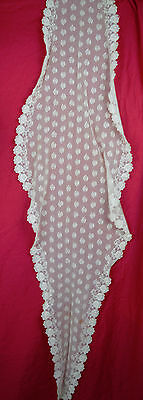 White Lace Shawl Antique Victorian 1880s Wedding Pointed Tambour