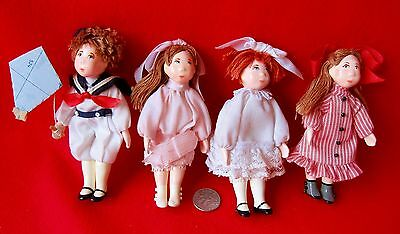 "SMALL PEOPLE by CECILY Dolls 4"" Dollhouse Miniatures (Lot of 4) m.1980's"